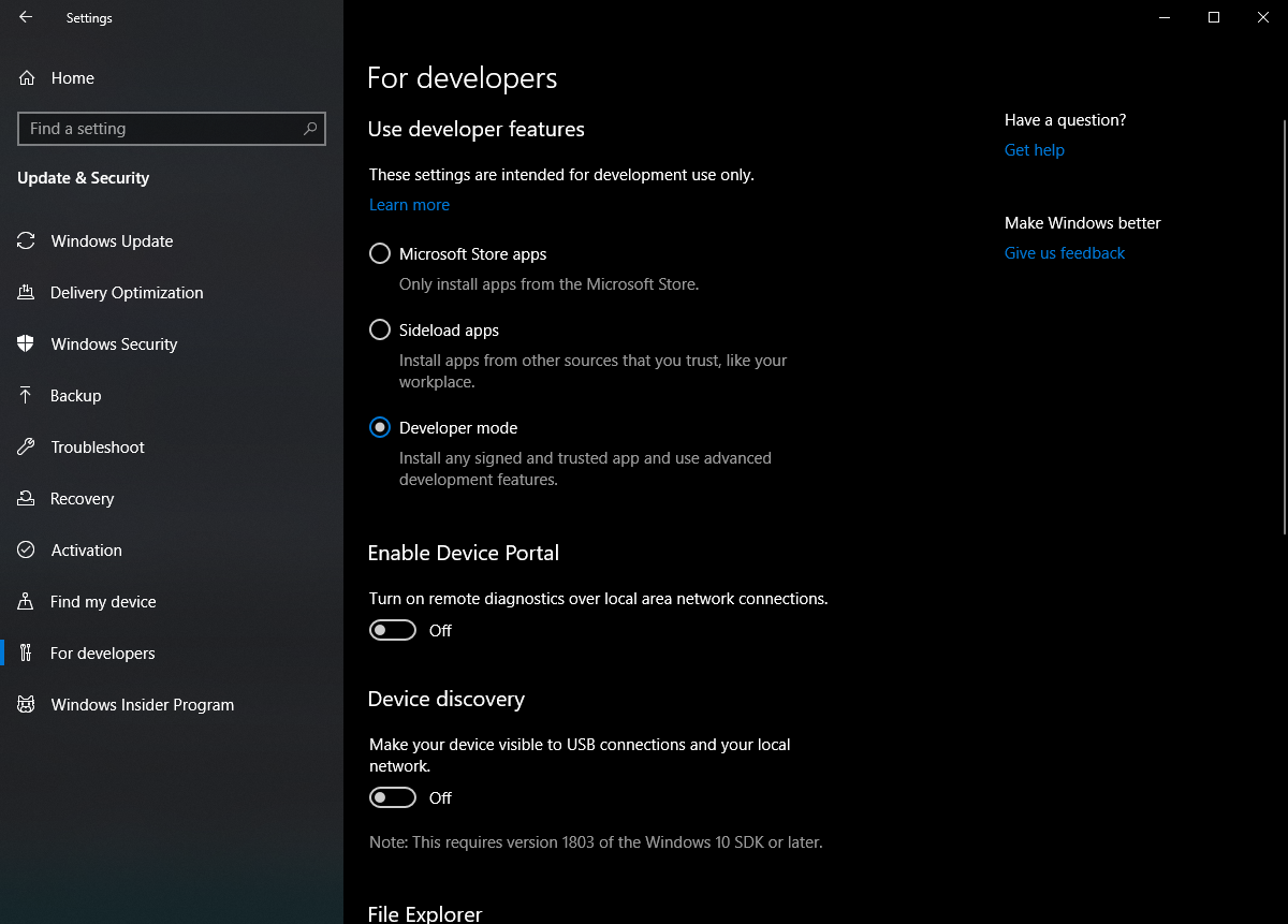 "On the screen, Check the box in ""developer mode"""